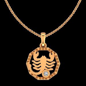 Scorpio Vrushchik Zodiac Sun Sign Gold Diamond Pendant