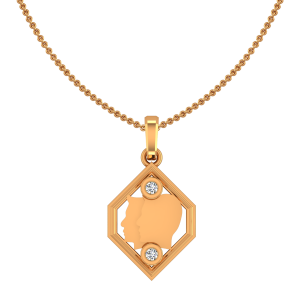 Gemini Mithun Zodiac Sun Sign Gold Diamond Pendant