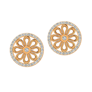 The Flora Decor Gold Diamond Earrings