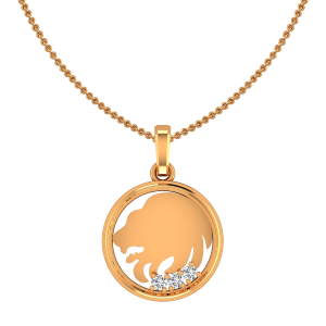Leo Sinh Zodiac Sun Sign Gold Diamond Pendant