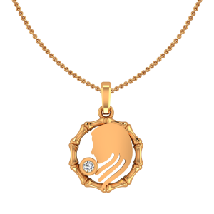 Virgo Kanya Zodiac Sun Sign Gold Diamond Pendant