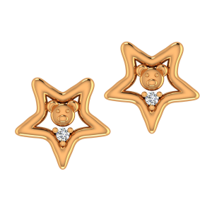 Cute Teddy Gold Diamond Kids Earring