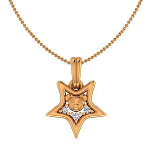 Teddy Robe Gold Diamond Kids Pendant