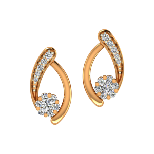 Floral Twist Gold Diamond Earrings