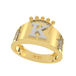 Own Your Name Initial Gold Diamond Men`s Ring