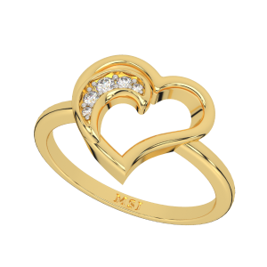A Pretty Heart Gold Diamond Ring