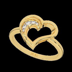 A Pretty Heart Gold Diamond Ring