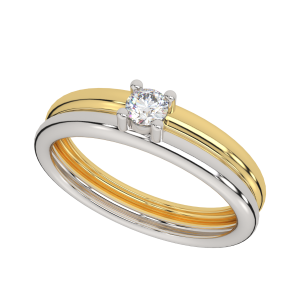 The Two Tone Solitaire Gold Diamond Ring