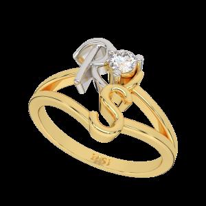 Customize Couple Initials Gold Diamond Ring