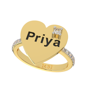 Customize Your Name Gold Diamond Ring For Her