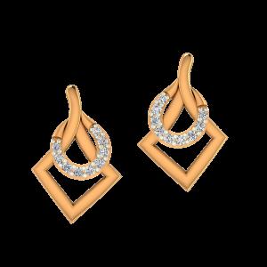 The Geometric Gold Diamond Earrings
