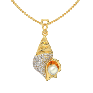 The Golden Conch Gold Diamond Pendant With Pearl