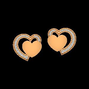 Sassy Hearts Gold Diamond Earrings