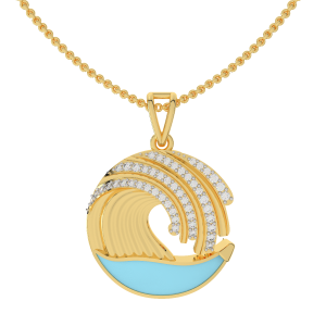 Life Is A Wave Gold Diamond Pendant With Enamel