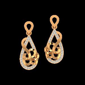 The Paisley Drama Gold Diamond Earrings
