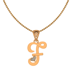 Alphabet F Heart Diamond Pendant