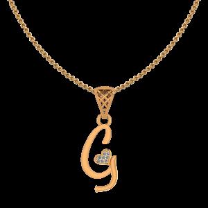 Alphabet G Heart Diamond Pendant