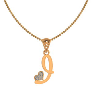 Alphabet I Heart Diamond Pendant