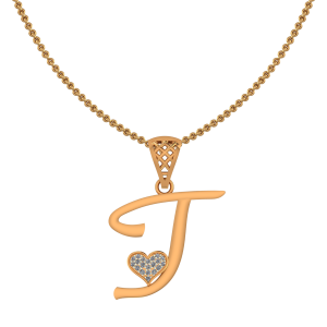 Alphabet J Heart Diamond Pendant