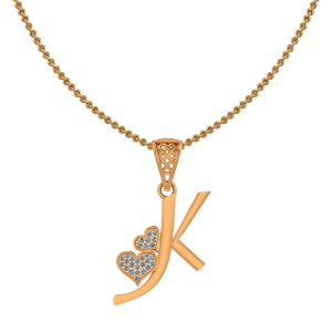 Alphabet K Heart Diamond Pendant