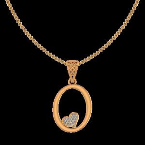 Alphabet O Heart Diamond Pendant