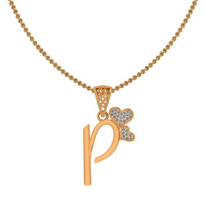 Alphabet P Heart Diamond Pendant
