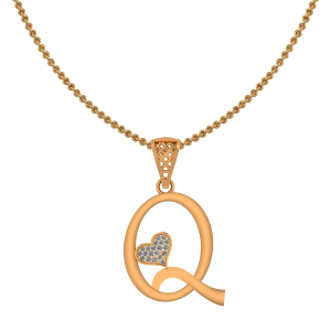 Alphabet Q Heart Diamond Pendant