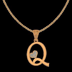 Alphabet Q Heart Diamond Pendant