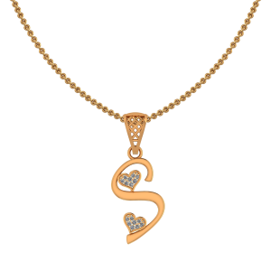 Alphabet S Heart Diamond Pendant
