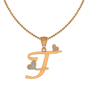 Alphabet T Heart Diamond Pendant