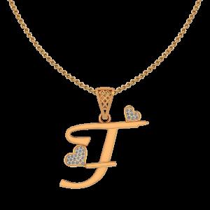 Alphabet T Heart Diamond Pendant