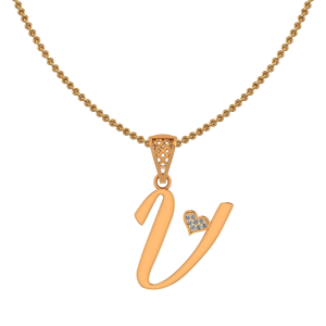 Alphabet V Heart Diamond Pendant