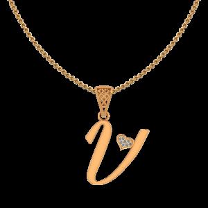 Alphabet V Heart Diamond Pendant