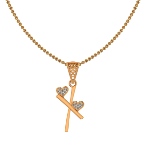 Alphabet X Heart Diamond Pendant