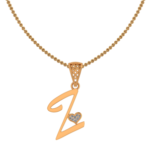Alphabet Z Heart Diamond Pendant