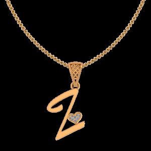 Alphabet Z Heart Diamond Pendant