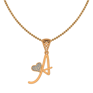 Alphabet A Heart Diamond Pendant
