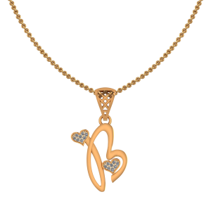 Alphabet B Heart Diamond Pendant