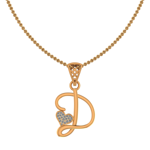 Alphabet D Heart Diamond Pendant