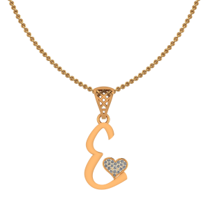 Alphabet E Heart Diamond Pendant