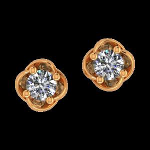 Golden Petals Diamond Stud Earrings