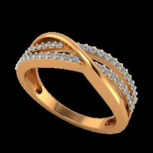 Golden Crossover Diamond Ring