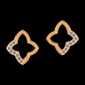 Golden Motif Gold Diamond Earrings