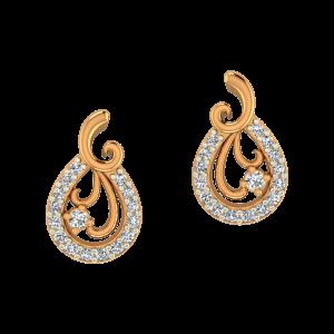 Floral Vase Gold Diamond Earrings