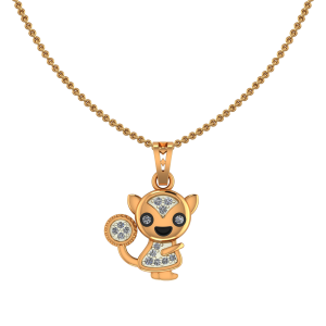 Cute Kitty Diamond Kids Pendant