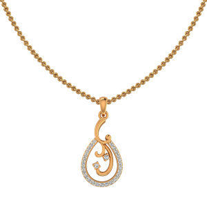 Poised Drop Gold Diamond Pendant