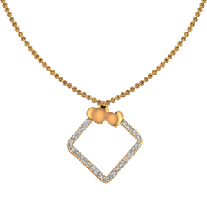Framed Hearts Diamond Pendant