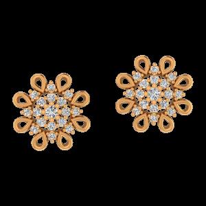 The Sun Flower Meet  Gold Diamond Earrings