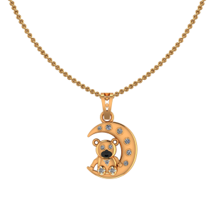 Teddy On The Moon Diamond Kids Pendant