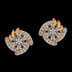 Floral Wheel Diamond Earrings